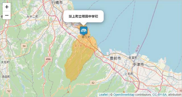椎田中学校の通学区域の地図画像