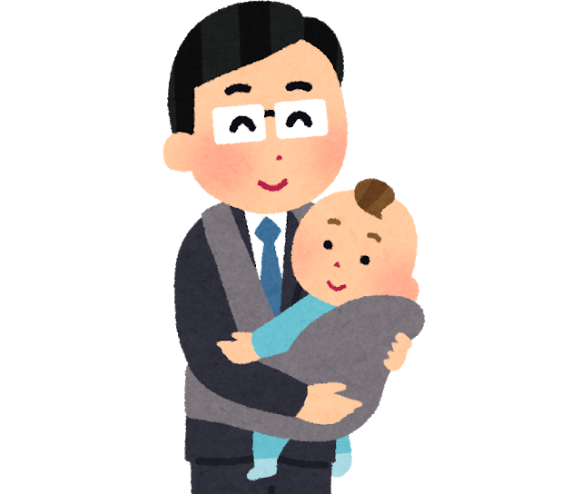 小さな子ども(赤ちゃん)を連れて会社に出勤する、育児中のお父さんの会社員のイラスト